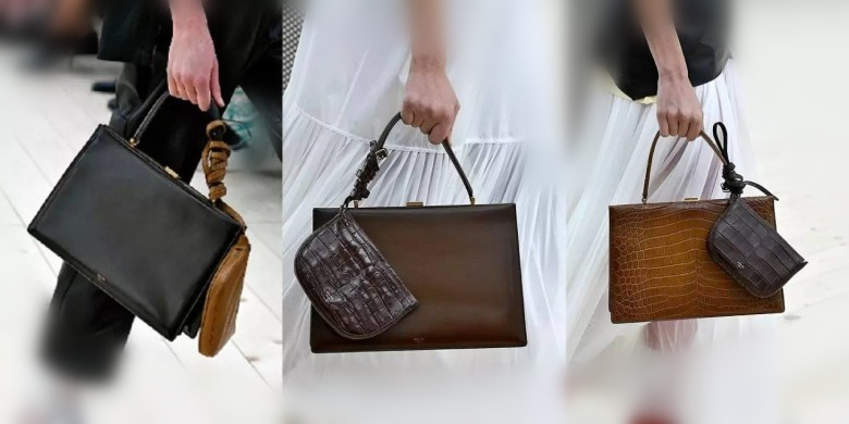 It is interesting to put a small clutch on the handle. You may wish to  refer to it. This polished leather collection make the bag very stiff. 28e79da0f1e6a